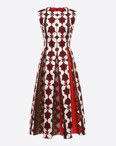 Pleated detailing, Ethnic design, Round collar, Rear zip closure, Semi-lined, Sleeveless, Plain weave,
