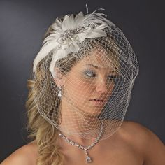 Vintage Couture Feather Bridal Headpiece with Bird Cage Veil