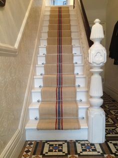 Stair runner heavy hemp Grain sack Fabric by the yard black Stripes Antique homespun pale linen with a herringbone weave Hallway Carpet, Carpet Stairs, Rustic Table Runners, Stair Rods, French Fabric, Grain Sack, Herringbone Pattern, Small Rugs, Stairways