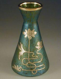 Loetz Iridescent Green Glass Vase With Silver Overlay Art Nouveau Floral Decoration - Austria c.1905