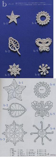 Decdoracions petites de ganxet. Estrella, papallona, cercle, fulla.