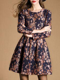 Jacquard Cotton-blend Mini Dress with Back Zipper
