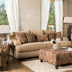 Shop for Furniture of America Shellie Transitional Tan Fabric Sofa. Get free…
