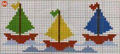 Punto de cruz barcos, cenefa de barcos.