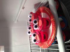 Elmo jello cups for a school bday snack.