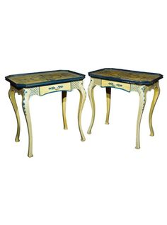 Pair of beautifully hand-painted French Louis XV style end tables, the light yellow and blue polychromed the top over a narrow frieze fitted with a single drawer, raised on cabriole legs. || TheHighBoy || #highboystyle #antiquesmakeitbetter #antiques #vintagefurniture #midcenturymodern #homedecoration #tables