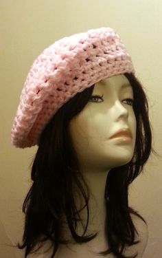 Crocheted  Beret Hat  Mesh Hat  Baby Pink Colour ♥ by jazzicrafts.