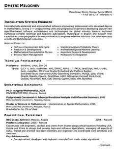Systems Engineer Resume | 10 Best Engineering Resumes Images On Pinterest Resume Templates