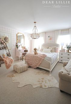 pink gingham wallpaper, hide rug, pink and gold girl room Gold Euro shams and a knit pillow from HomeGoods help add a cozy touch to this pink and white girls bedroom. Cute Bedroom Ideas, Girl Bedroom Designs, Bedroom Ideas For Tweens, Girls Room Design, Room Decor For Girls, Girls Pink Bedroom Ideas, Elegant Girls Bedroom, Blush And Gold Bedroom, Preteen Girls Rooms