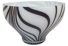 Art Glass Zebra Bowl