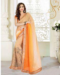 Orange Georgette Jacquard Wedding Saree 63539