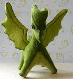 large green felt dragon by NikkisGlen on Etsy, $25.50