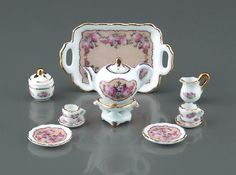 Reutter Porzellan (Germany)  —  ' Classic Rose' Miniature Tea Set   (650x482)