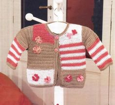 Discover thousands of images about Ravelry: Project Gallery for Crochet Springtime Friends Hoodie pattern by Anji Beane Crochet Toddler, Baby Girl Crochet, Crochet For Kids, Crochet Baby Sweaters, Crochet Baby Clothes, Knitting For Kids, Baby Knitting, Gilet Crochet, Crochet Patron