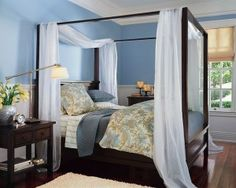 Canopy Bed- pretty similar to mine.  This color of blue looks nice with it.  I think the white curtains are too much contrast.  Keep beige curtains, and how much of the bronze walls should I paint over?