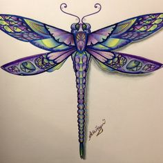 Dragonfly Drawing, Dragonfly Tattoo Design, Dragonfly Art, Tattoo Bunt, Native Tattoos, Johanna Basford Coloring Book, Colored Pencil Techniques, Dragon Pictures, Insect Art