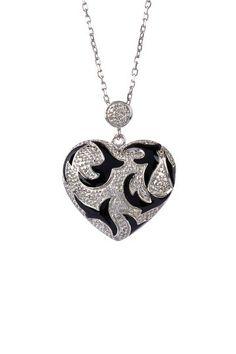 White Diamond Heart Pendant Necklace