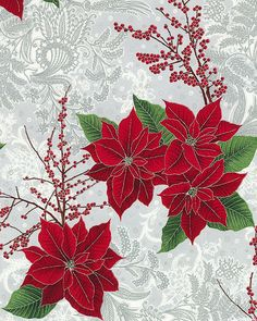 Berries & Blooms - Regal Poinsettias - Quilt Fabrics from www.eQuilter.com