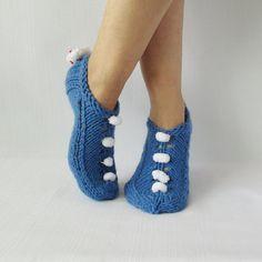 Zapatillas con corazón para mujer regalos hechos a mano de punto zapatillas zapatillas de lana que había tejida a mano botines de San Valentín!