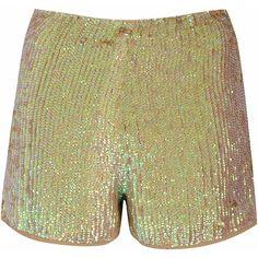 Stone Sequin Embellished Shorts (450 DKK) ❤ liked on Polyvore featuring shorts, cream, stone shorts, party shorts, sequined shorts and cream shorts