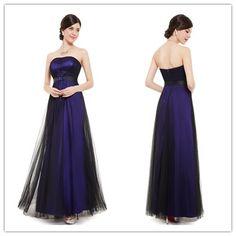 Purple And Black Strapless Tulle Bridesmaid Dresses #B042