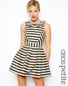 Striped Skater Dress - I love the paneling in this dress.