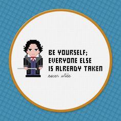 Be Yourself  Oscar Wilde Quote  Cross Stitch by pixelpowerdesign, $4.00