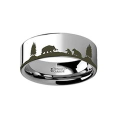 Thorsten Black Panther Custom Design Flat Polished Tungsten Carbide Ring 4mm Wide Wedding Band from Roy Rose Jewelry