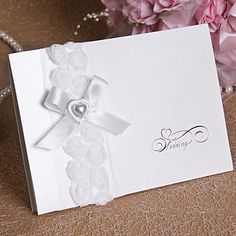 Wedding Invitation With Heart Pearl and Bow - Set of 12 (More Colors) – GBP £ 19.16