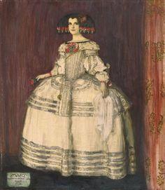 Maria von stuck en costume de Ménine de Velasquez - Franz von Stuck . 1885