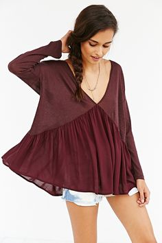 Kimchi Blue Dropped-Waist Double-V Top - Urban Outfitters