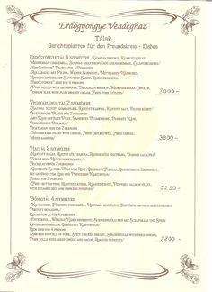 Étlap – Erdőgyöngye Étterem és Panzió Wiener Schnitzel, Personalized Items, Mediterranean Sea, Mushrooms, Easy Meals