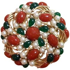 1960's TRIFARI Faux Coral Emerald Pearl Large Circular Brooch   From a unique collection of vintage brooches at https://www.1stdibs.com/jewelry/brooches/brooches/