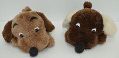"Vintage Dakin Drooper Dog Plush Puppy Brown Nutshells Small Lot 2 Dogs 6"" #Dakin"
