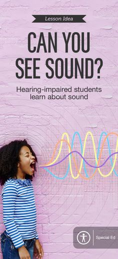 """Film and Animation Lesson Ideas (FREE iBook): Use apps to help hearing-impaired students experience sound through visualization, rhythm, movement, and vibration with """"Can You See Sound?"""" The FREE iBook shows how students can experiment with dynamic apps such as Soundbeam, ToneGen, VideoFX Live, Keynote, Visual Poetry, and TypeDrawing to connect with audio."""