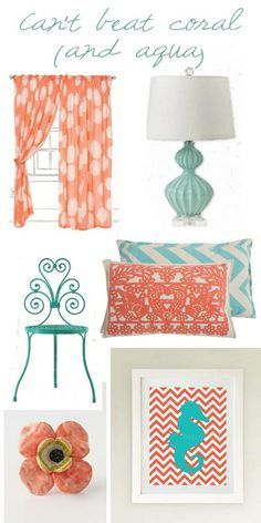 Coral and Aqua Decor
