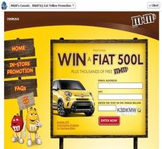 MM's Canada:  Eat Yellow Promotion Win Fiat 500 ($24,800)