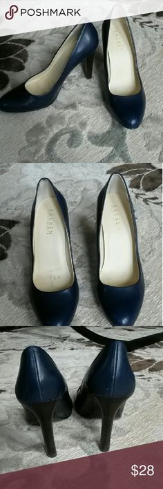 """Navy Ralph Lauren Pumps 4"""" heels. Only worn a few times. Small sticker residue on inside of shoe and minor wear on bottom. Great for work or a night out! Ralph Lauren Shoes Heels"""