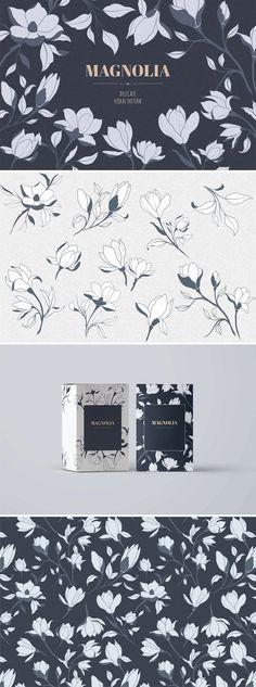 magnolia, hand drawn, graphic design