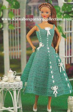 Crochet Fashion Doll Clothing Lawn Party Sundress Pattern #KC0917, Intermediate Skill Level, Crochet PDF Pattern