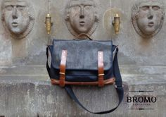 The classique BROMO satchel bag in brown and black leather #Barcelona #satchel