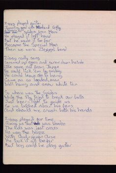 Hand written Ziggy Stardust lyrics by David Bowie