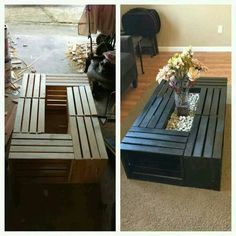 Outside coffee table made from pallets