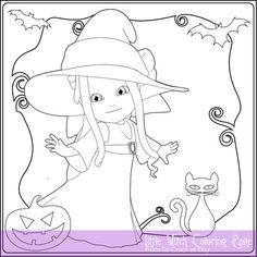 Peu De Sorcire Coloriage Pour Adultes Tlcharger Instant Livre Halloween Feuille Timbre Numrique PDF JPG ColoringGrownups