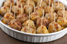 Sausage Cheese Balls are a quick and delicious snack or appetizer with ground sausage and cheese for Christmas party, Super Bowl party, or New Year's Eve.