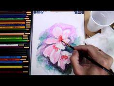 Como Pintar Flores con Lapices Acuarelables, Paso a Paso y muy Facil - YouTube