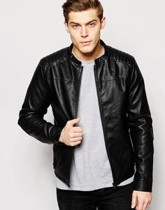Jack+&+Jones+Faux+Leather+Jacket+with+Quilted+Patches