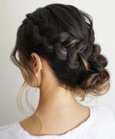 Gorgeous side braid into low updo wedding hairstyle; Featured Hairstyle: Heidi Marie Garrett