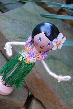 Wahine Hula Hustle - Clothespin Doll by creatingtreasures, via Flickr