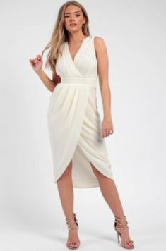 Pleated Wrap Midi Dress white